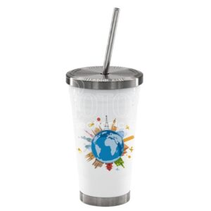 Stainless steel cup with lid and straw