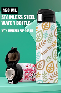 450 ml Stainless Steel Vacuum Insulated Water Bottle w/ Buffered Flip-Top Lid