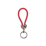 Heart Braided Keyring – red