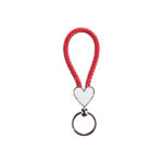 Heart Braided Keyring red