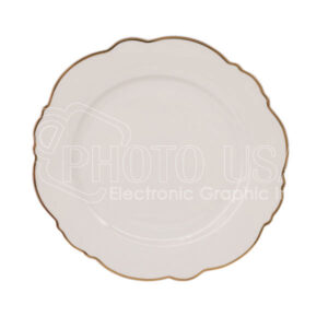 "10"" Lotus Plate with Golden Rim"