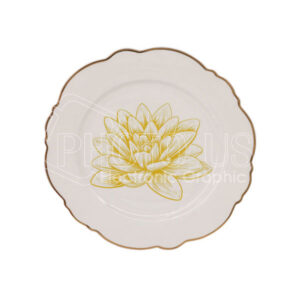 "8"" Lotus Plate with Golden Rim"