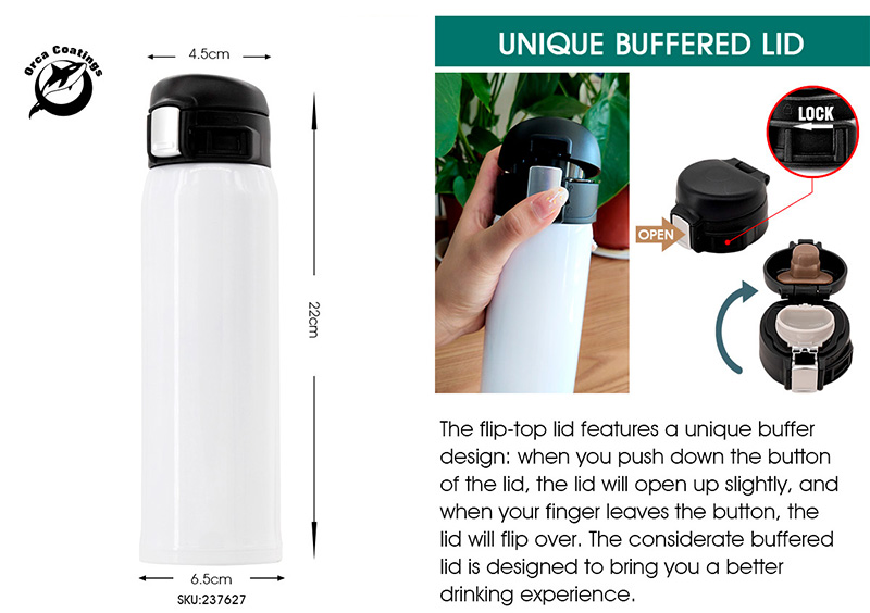 Stainless Steel Water Bottle with Buffered Flip-Top Lid for sublimation