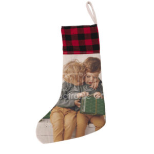 Sublimation Linen Christmas Stockings with Plaid Print